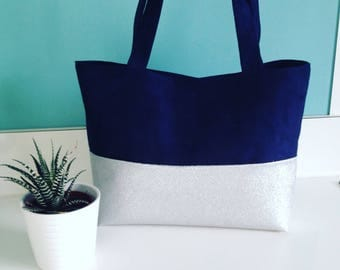 Small tote bag Navy Blue and silver