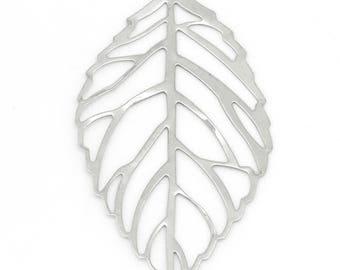 x 2 55 mm silver filigree leaf pendant
