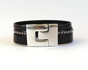 Handmade black leather bracelet and silver beads - 3 leather straps - leather women bracelet