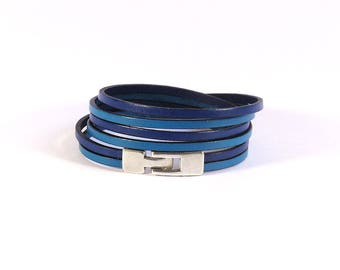 Blue leather - 2 strips 3mm - 3 x wrap - Bracelet leather women bracelet