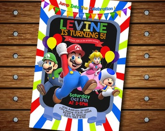 Supermario Invitation,Supermario Birthday Invitation,Mario Party,Mario Invite,Mario Invitation,Mario Birthday,Supermario Birthday,Mario Bros