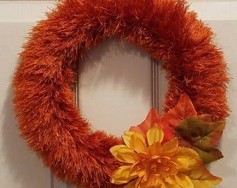 Autumn orange eyelash wreath