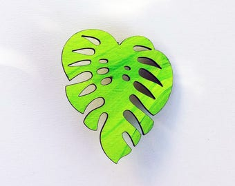Monstera Leaf Brooch, Neon Green