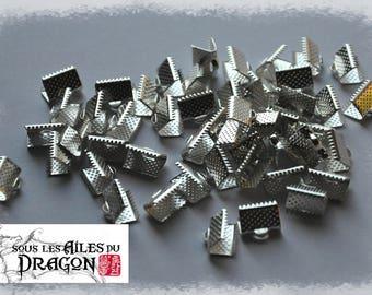 Silver claw, metal, set of 50 Ribbon ties