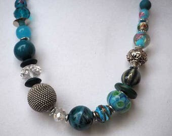 NECKLACE beads of different materials, your turquoise blue, closed chain, mother's day