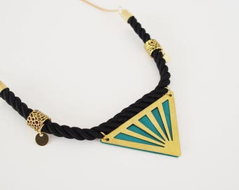 Enamel jewelry - Necklace ethnic bib triangle turquoise glaze