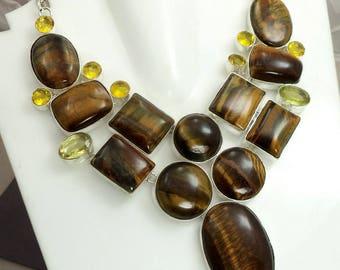 Tiger eye necklace , Citrine Necklace , handmade necklace , silver plated necklace , natural tiger eye stone