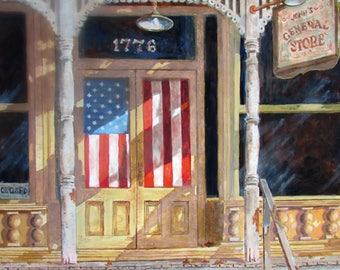 Oil Painting General Store The Greatest Generation
