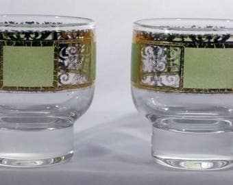 Culver Cordial glasses with 24k gold and lime green