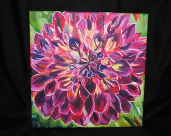 Bloom: Original Dahlia Oil Painting