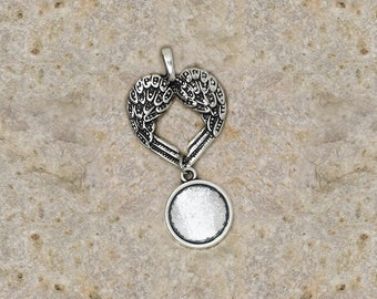 support cabochon 14 mm heart Angel Wings pendant