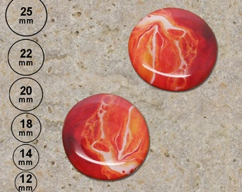 2 cabochons 20 mm painted effect print is available in 25, 22, 18, 14, 12 mm