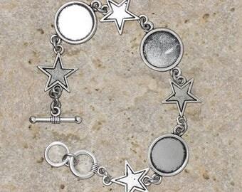 Bracelet cabochon 14 mm round star connectors