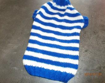 Blue and white striped dog coat