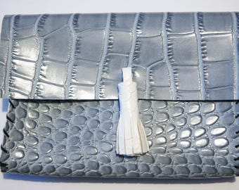 Faux snake grey - blue Python leather clutch