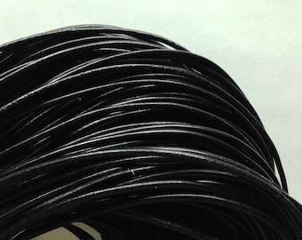 lot 3 m black leather cord 2.5 mm round lace surteinte
