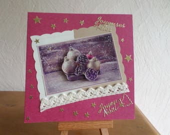 greeting card with balls and pine cones