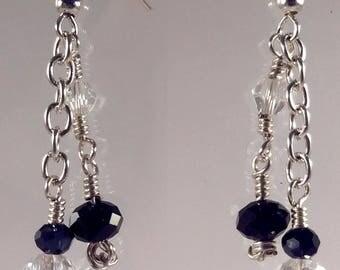 Boucles d'oreilles chaîne perles cristal/noir/gris