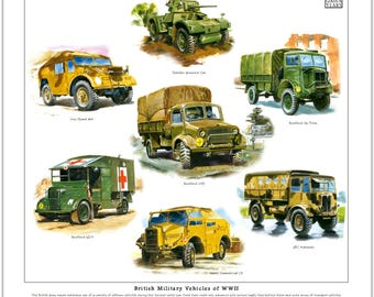 British Military Vehicles of WWII - Fine Art Print (Bedford AEC Daimler Morris)