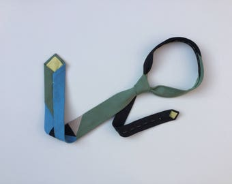 Handmade organic denim tie, narrow style, colour block pattern 4