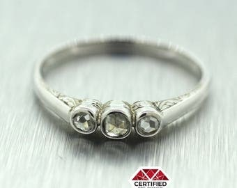 Antique Solid 14k White Gold 3 Stone Rose Cut Diamond Ring