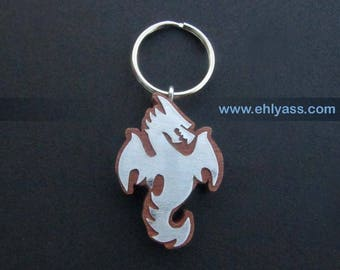 Key chain in wood and metal Dragon 2 solid wood made fretwork