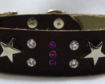 Handmade Leather Dog Collar - Shooting Stars