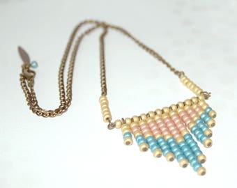 Cascade of beads - yellow, blue and salmon pink necklace