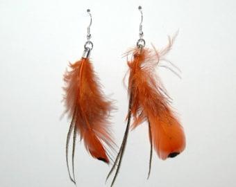 Earrings long dark brown and orange feathers