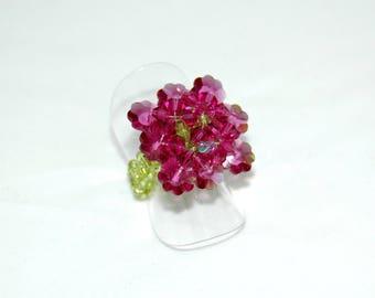 Ring Swarovski Crystal Fuchsia flowers