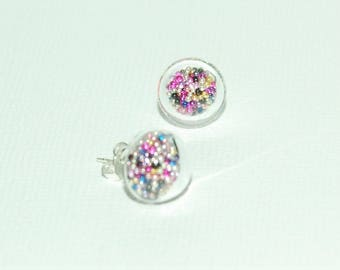 Glass bubble earrings - multicolored Pearlescent Inclusion BouBoucles