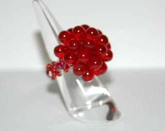 Red Pom Pom Swarovski Crystal ring
