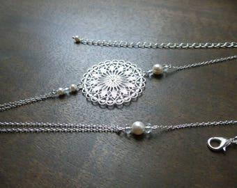"Silver bridal ""Rose"" with swarovski pearls headband"