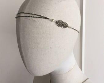 """Headband wedding bronze """"Anaïs"""" with swarovski pearls"""