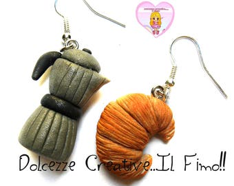 Coffee and croissant earrings - hand made clay gift idea