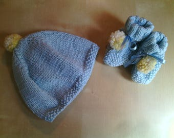 Wool baby hat and booties complete Handmade wool baby Cap-yellow socks and baby boy birth gift