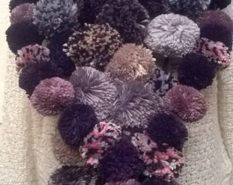 Handmade scarf with PomPoms in viscose