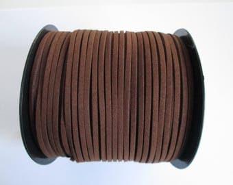 1 mètre cordon plat suédine largeur 2.5 mm couleur : café
