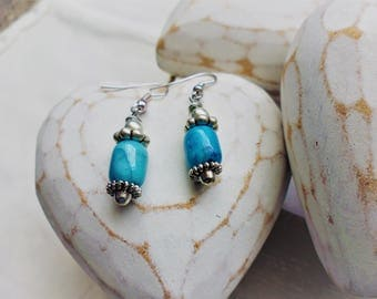 Turquoise Drop Earrings with Silver Plated Decorations