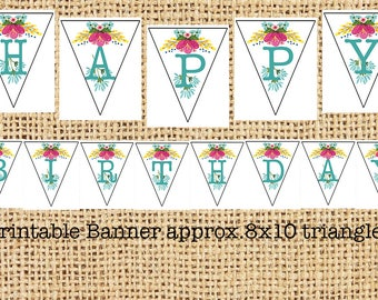 Printable Happy Birthday Banner (triangles approx. 8x10)
