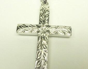 14K White Gold Hawaiian Design Cross! Made in Hawaii!