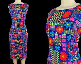Lite Brite | Vintage 1960s 1970s | Mod Neon Floral Acrylic Bark Cloth Hand Made Knee Length Sleeveless Sheath Dress - Size M