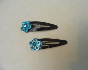 Child or baby with turquoise flower hair clip