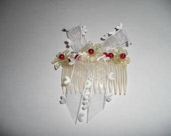 Ceremony wedding hair comb Pearl raspberry