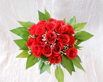 Bridal bouquet and bridesmaid color red white and black