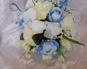 Blue and white bridesmaid bouquet or bridal bouquet