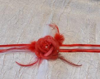 Ribbon red wedding flower bracelet