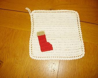 White pot holder Christmas decoration boot