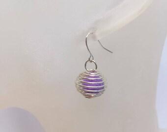 Silver cage purple tassel earrings