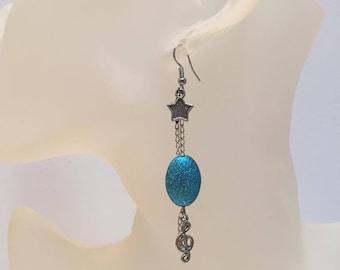 Aluminum Blue Pearl Earrings